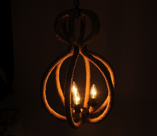 "15"" x 15"" x 47.5"" 3 BulbsRope  Pendant Lamp. 364238"