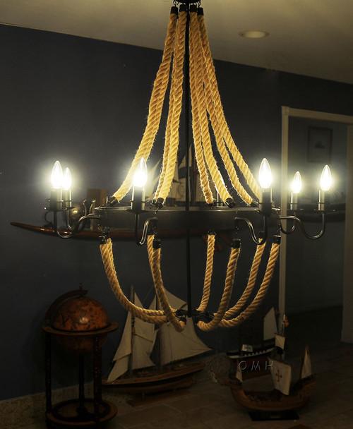 "35.5"" x 35.5"" x 47"" 8 Bulbs Large Rope  Pendant Lamp. 364240"