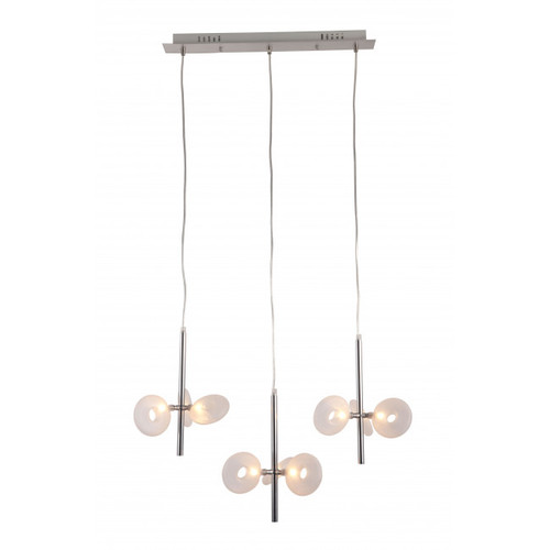 """26.4"""" x 21.7"""" x 59"""" Chrome, Frosted Glass, Ceiling Lamp. 364753"""