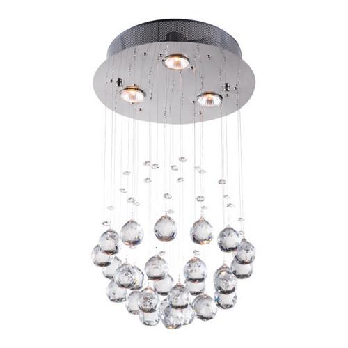 "11.8"" x 11.8"" x 19.7"" Clear, Crystal, Chromed Metal, Ceiling Lamp. 364755"