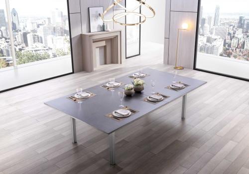 """108"""" X 60"""" X 30"""" Dark Gray Ceramic Glass Game Table. 370727"""