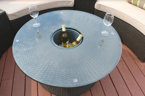 6 Piece Black Half Moon Outdoor Sectional Set with Ice Bucket. 372318