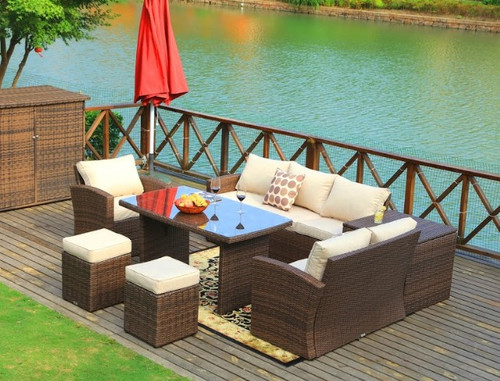 """179.85"""" X 31.89"""" 32.68"""" Brown 7Piece Steel Outdoor Sectional Sofa Set with Ottomans and Storage Box. 372322"""