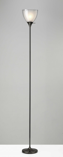 Shiny Black Nickel Finish Metal Torchiere Floor Lamp with Frosted Inner Shade. 372606