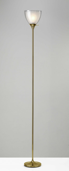 Shiny Gold Finish Metal Torchiere Floor Lamp with Frosted Inner Shade. 372607