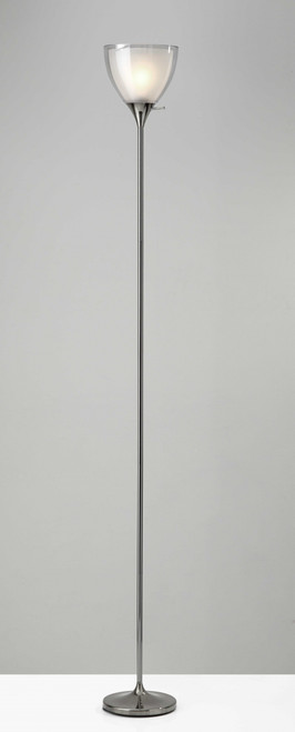 Shiny Chrome Finish Metal Torchiere Floor Lamp With Frosted Inner Shade. 372608