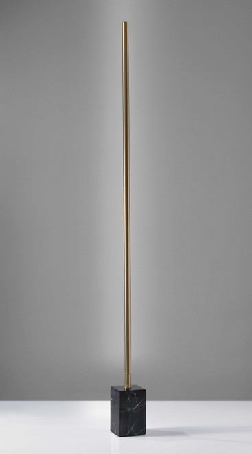 Minimalist Ambient Glow LED Floor Lamp with Dimmer in Antique Brass and Black Marble. 372616