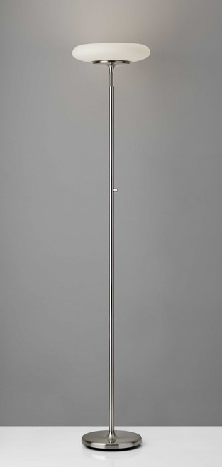Brushed Steel Metal LED Torchiere with White Frosted Tube Glass Shade. 372629