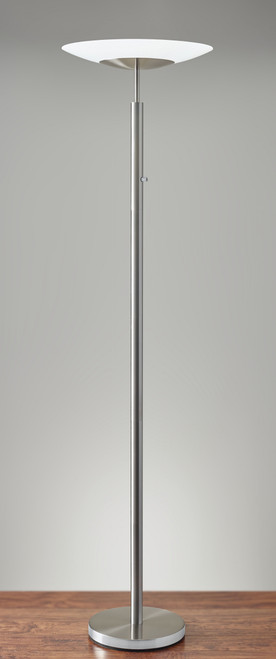 Brushed Steel Metal Thick Pole with Wide Disc Shade Torchiere Floor Lamp. 372743