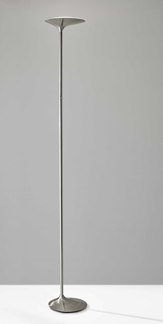 Groovy LED Torchiere Floor Lamp with Offset Brushed Steel Base and Shade. 372748