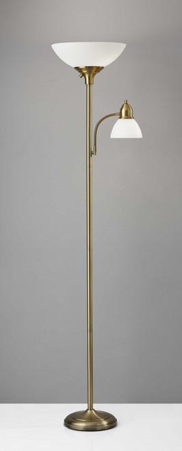 Overlook Brass Metal Torchiere Plus Task Light Floor Lamp. 372817
