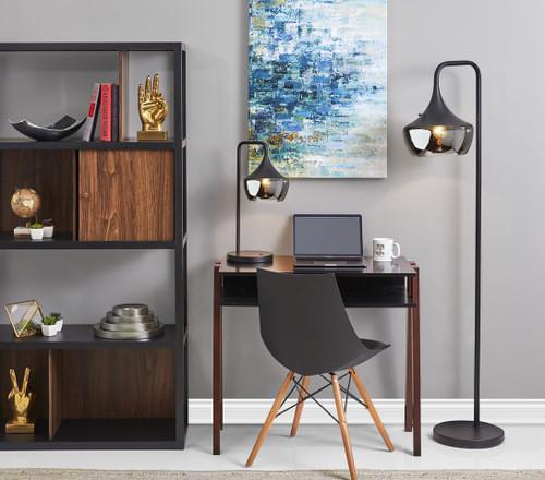 Modern Floor Lamp Gnome Smoked Glass Matte Black. 372856