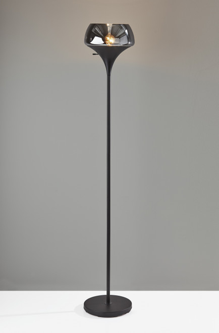 Chalice Mixed Material Torchiere With Black Metal Smoked Glass. 372858