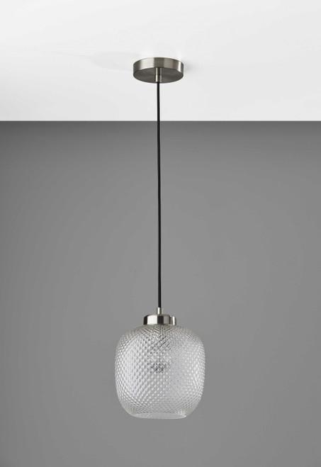 Dotty Glass Brushed Steel Metal Pendant. 372874