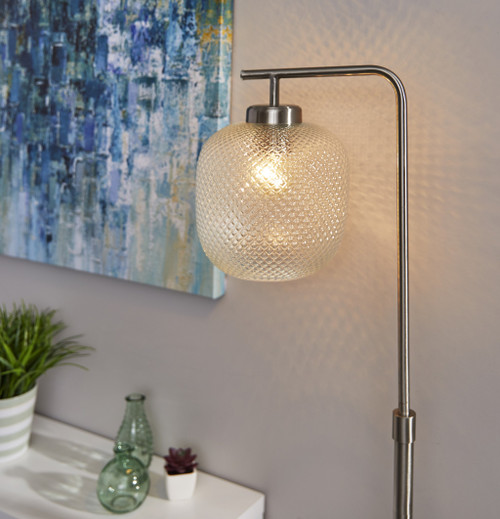 Retro Floor Lamp Brushed Steel Metal with Clear Dotty Glass Shade. 372880