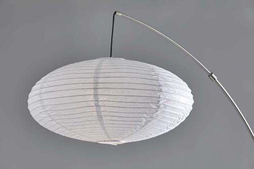Paper Lantern Floor Lamp Brushed Steel Metal Crescent Arm. 372903