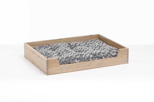 Deluxe Gray Wash Solid Hickory Dog Bed with Ultra Plush Mattress. 373908