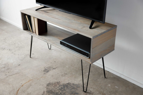Gray Wash Maple And Steel TV Stand or Media Center. 373919