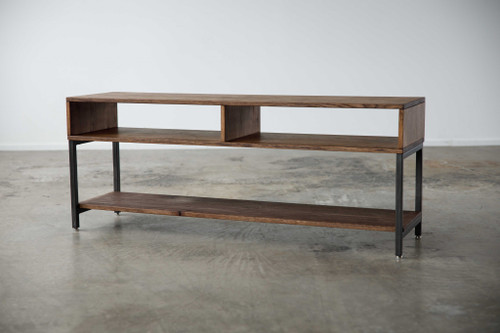 Warm Dark Finish Maple And Steel TV Stand and Media Center. 373920