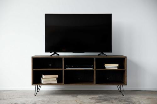Warm Dark Finish Multi Compartment TV Stand or Media Center. 373921