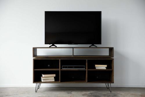 Warm Dark Finish 8 Compartment TV Stand or Media Center. 373922