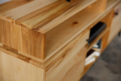 Natural Maple And Steel Multi Compartment TV Stand or Media Center. 373923