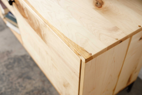 Natural Maple And Black Steel TV Stand or Media Center. 373924
