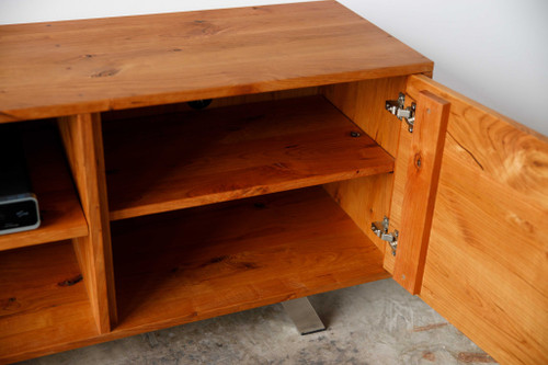 Warm Natural Cherry And Steel TV Stand or Media Center. 373925