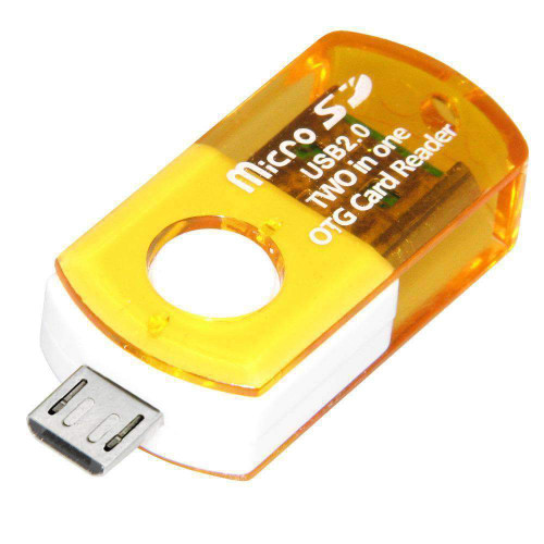 Micro USB 2.0 to OTG Adapter with Micro SD Card Reader - Yellow