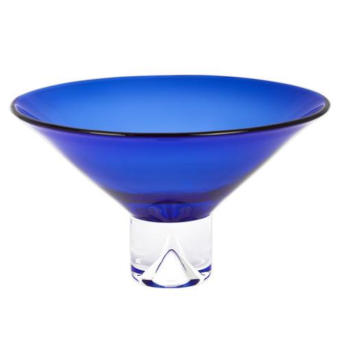 "12"" Mouth Blown Crystal Cobalt Blue Centerpiece Bowl. 375838"