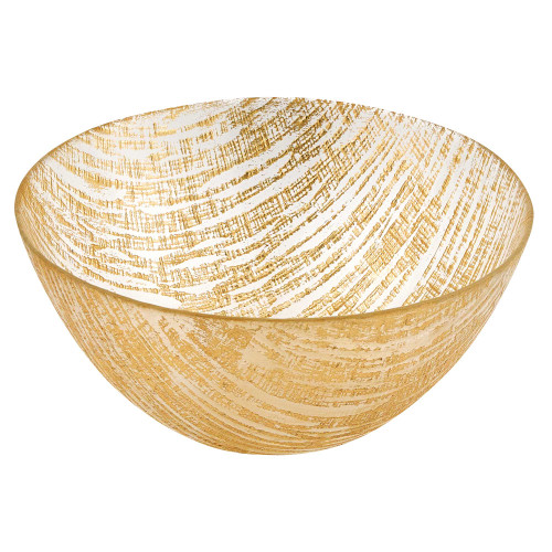"""11"""" Hand Crafted Glass Gold Accent Salad or Serving Bowl. 375852"""