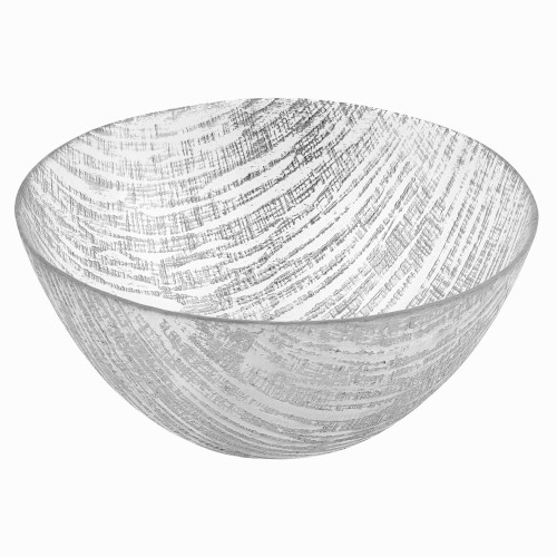 """11"""" Hand Crafted Glass Silver Accent Salad or Serving Bowl. 375853"""