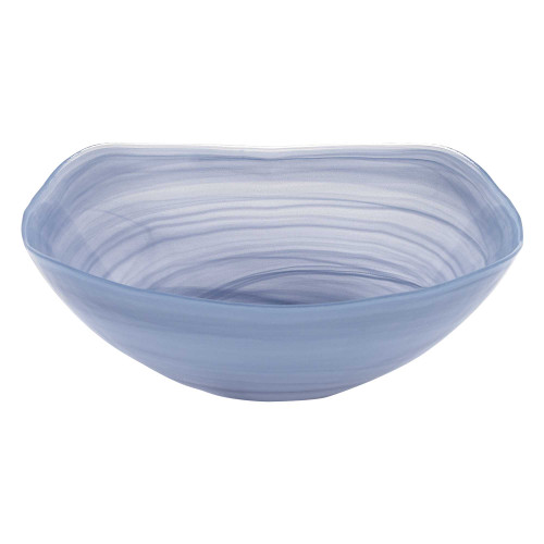 """10"""" Hand Crafted Sky Blue Glass Squarish Salad or Serving Bowl. 375872"""