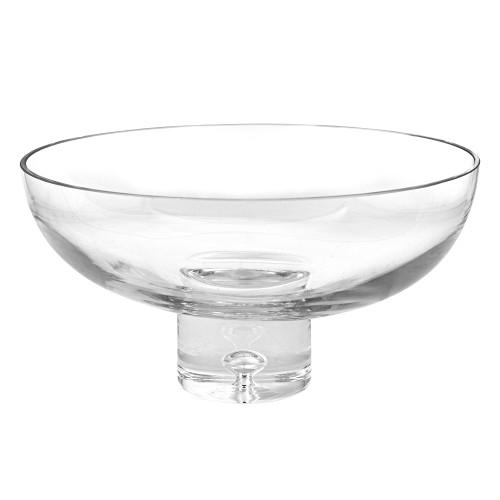 """11"""" Mouth Blown Deep Pedestal Glass Centerpiece Bowl. 375894"""