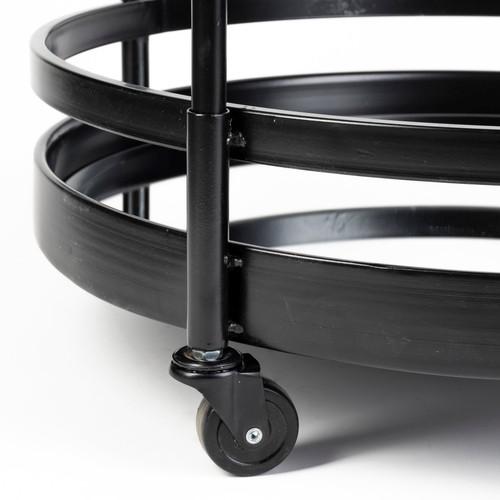 "22"" Black Metal With Two Mirror Glass Botton Shelves Bar Cart. 376014"