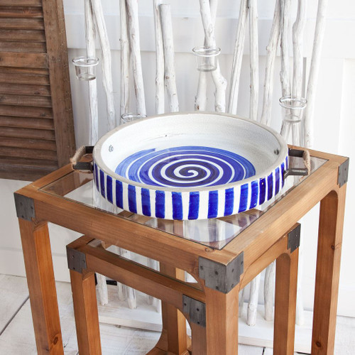 """13"""" Blue And White Ceramic With Wood And Metal Handles Round Tray. 376031"""