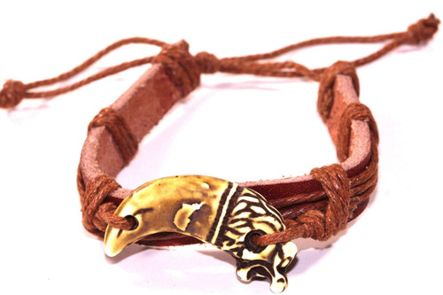 Handmade Adjustable Dragon Tooth Leather Bracelet