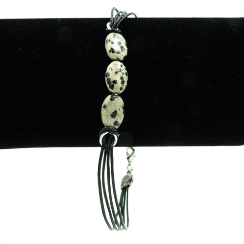 Nickel Free Dalmatian Jasper On Leather Bracelet