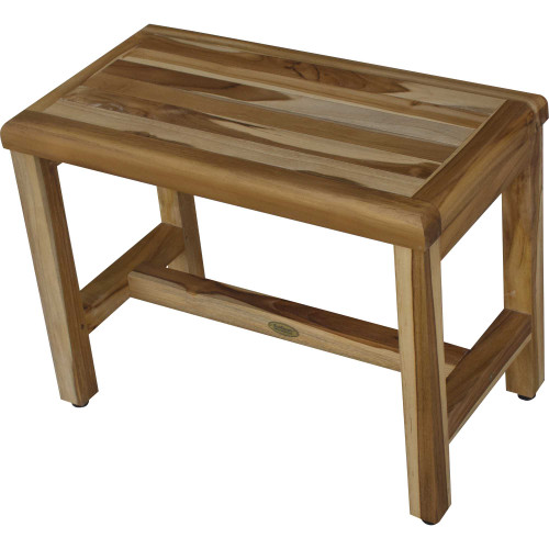 Compact Rectangular Teak Shower  Outdoor Bench with Shelf in Natural Finish. 376748