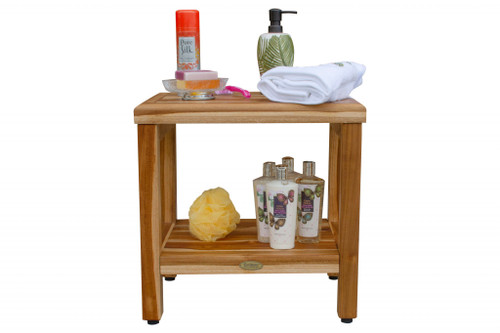 """18"""" Contemporary Teak Shower Stool or Bench with Shelf in Natural Finish. 376749"""