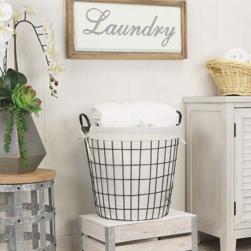 White Fabric Lined Metal Laundry Type Basket with Handle. 379817