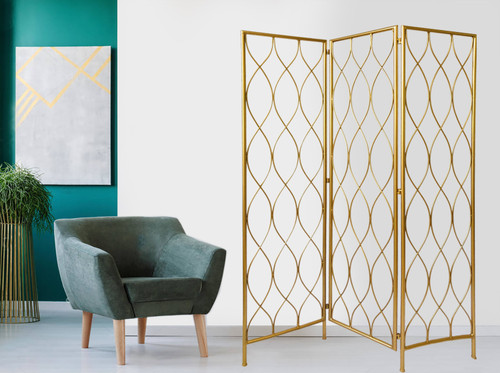3 Panel Gold Room Divider with Golden Age Charm. 379901