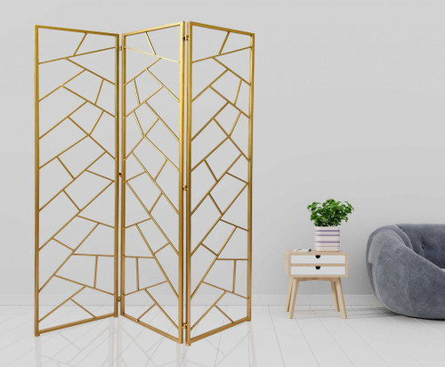 3 Panel Gold Room Divider with Geometric Motif. 379902