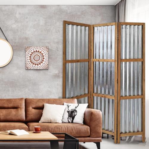 3 Panel Brown Corrugated Metal Room Divider. 379904