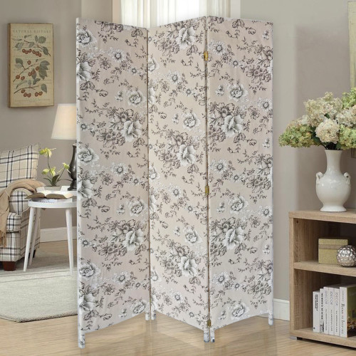 3 Panel Beige and Black Soft Fabric Finish Room Divider. 379907