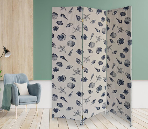 3 Panel Beige and Blue Soft Fabric Finish Room Divider. 379908