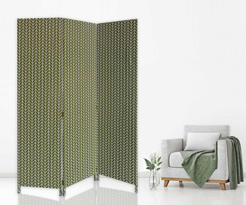 3 Panel Green Soft Fabric Finish Room Divider. 379909