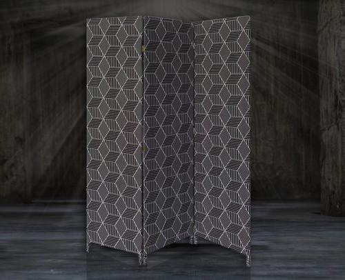 3 Panel Black Soft Fabric Finish Room Divider. 379910
