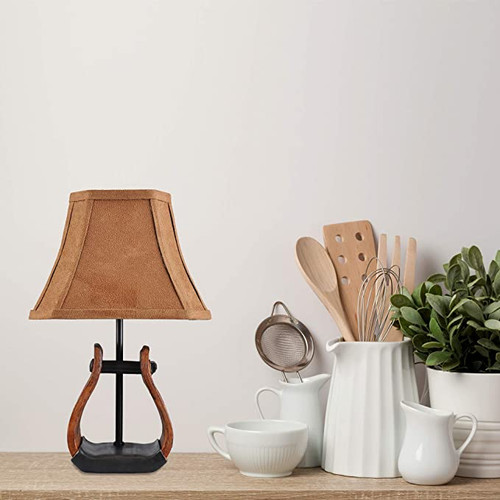 Horse Stirrup Accent Lamp with Faux Suede Brown Shade. 380492