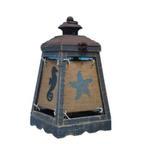 Cape Lantern Blue Accent Lamp with Coastal Icons. 380542